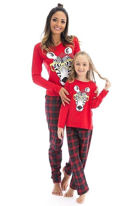 56a8a23671 Mother Daughter Matching Christmas Pajamas Set Zebra Print Top Plaid Pants PJs  Set Xmas Sleepwear Set at Amazon Women s Clothing store