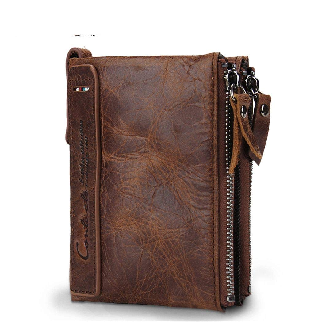 Genuine Cowhide Leather Men Wallet Short Coin Purse Small Vintage Wallets