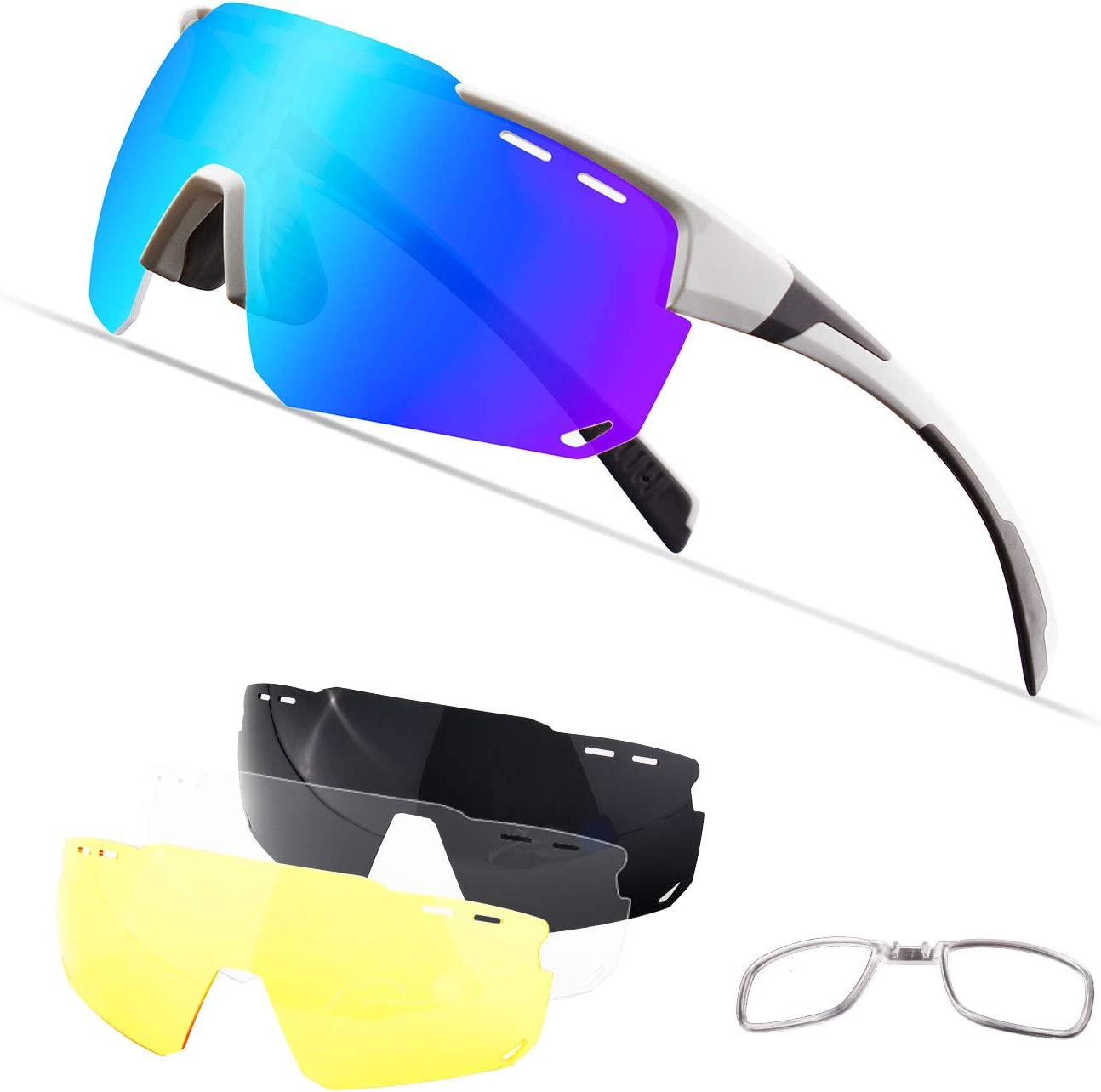 Xiyalai Sports Sunglasses,Polarized Cycling Sports Sunglasses,Cycling Glasses for Men Women with 4 Interchangeable Lenes for Running Baseball Golf Driving