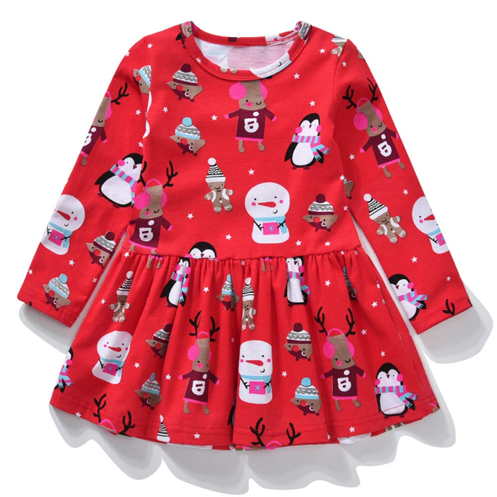 Baby Girls Dresses Toddler Kids Cute Cartoon Long Sleeve Cotton Party Princess Dress Autumn Winter Casual Photo Shoot Christmas Dresses for Age 2-7 Years
