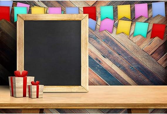 Cassisy 1,5x1m Vinilo Cumpleaños Telon de Fondo Pizarra de Madera en Blanco Caja de Regalo Bandera de Colores Bandera Fondos para Fotografia Party Infantil Photo Studio Prop Photo Booth: Amazon.es: Electrónica