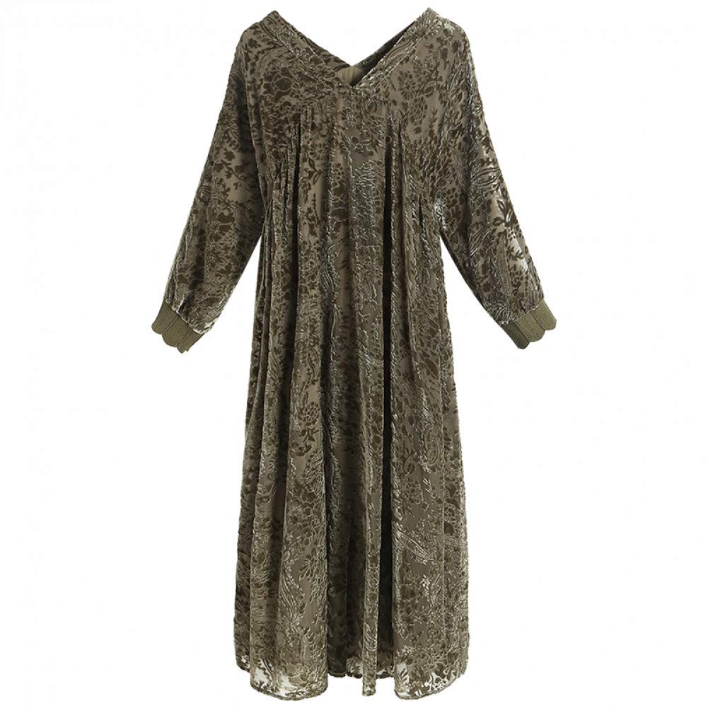 L BINGQZ Silk dress female winter temperament loose V-neck over the knee long skirt autumn and winter skirt