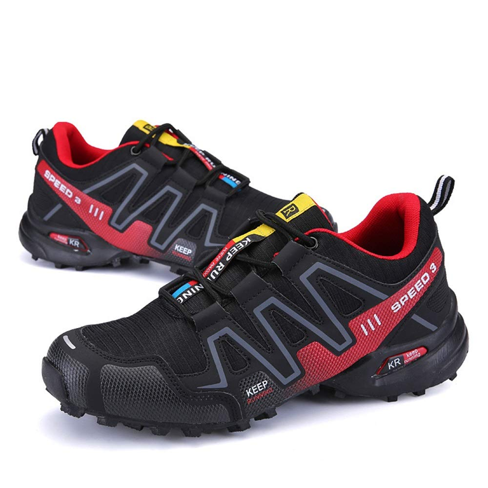 Qiusa Herren Schnürschuhe Soft Sohle Rutschfeste Breathable Lässige Durable Outdoor Runnning Trainer (Farbe   Rot, Größe   EU 47)