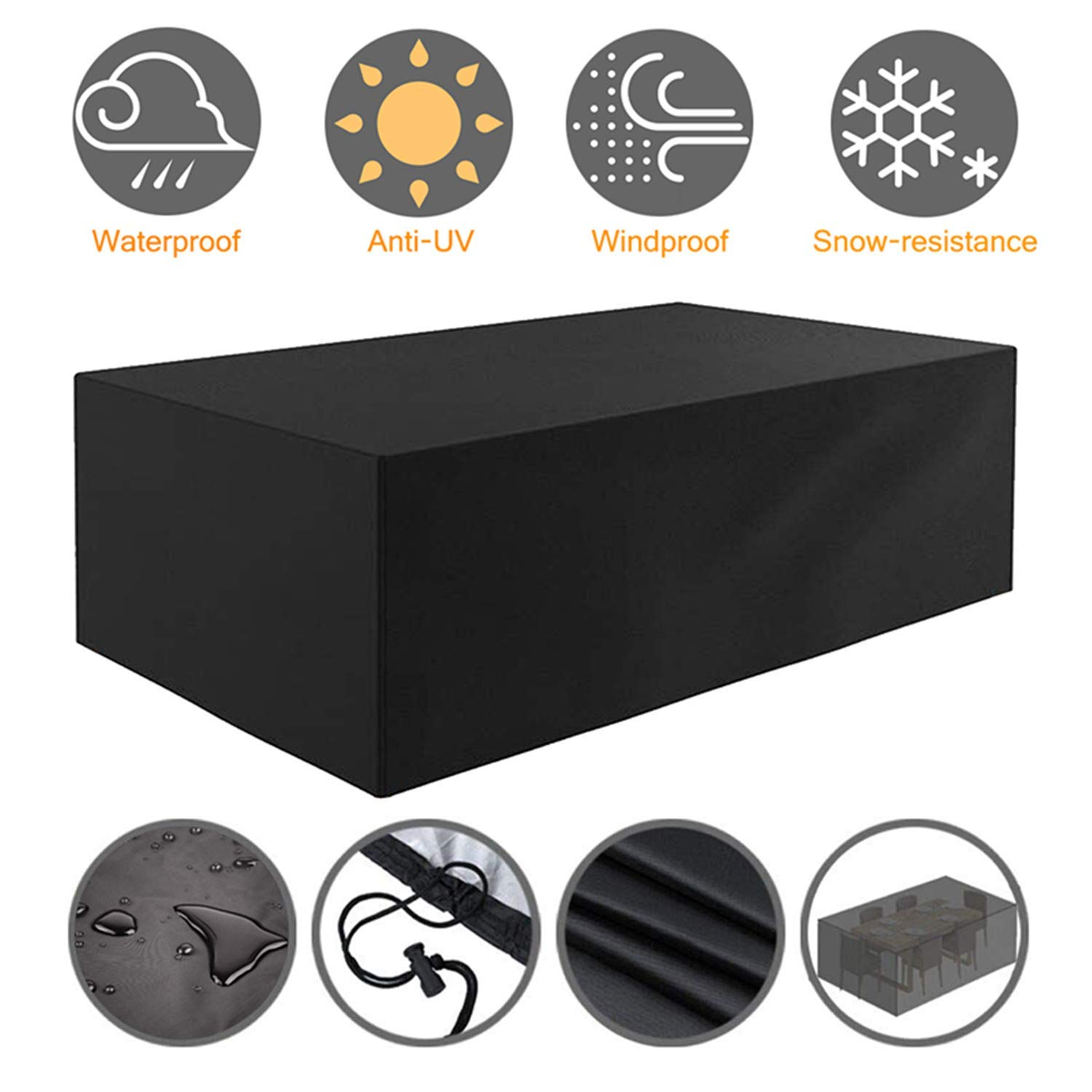 Tvird Patio Furniture Cover Outdoor Table and Chair cover,600D Heavy Duty Oxford Fabric Garden Furniture Covers Waterproof Furniture Set Covers Windproof Dust Proof Protective 242 x 162 x 100 cm(Black