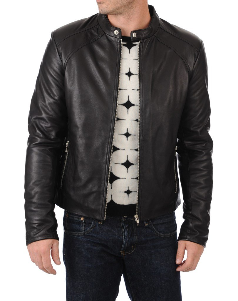 BENJER Skins Men's Lambskin Leather Bomber Motorcycle Jacket Medium Black