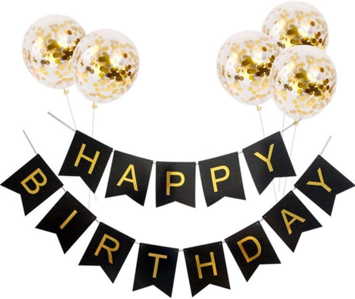 """Jasmey Happy Birthday Banner Black and Gold, Birthday Bunting Flag Garland with 5pcs 12"""" Confetti Balloons Pre-Filled Pefect Set for Birthday Party Decorations and Supplies"""