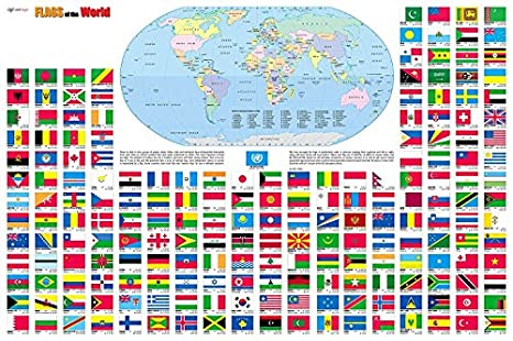 Map Of World Flags.Amazon Com Flags Of The World Wall Map Poster 36 X24 Rolled