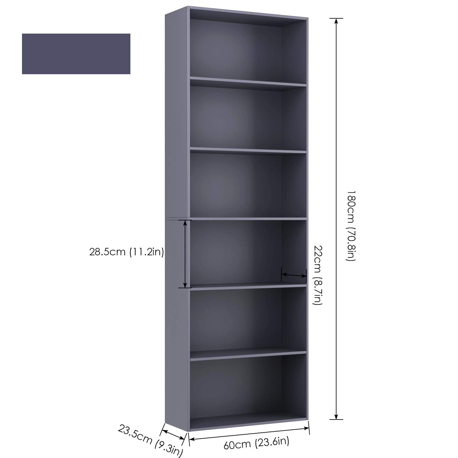 Homfa Bookshelf 70 Height, Wood Bookcase 6 Shelf Free Standing Display Storage Shelves Standard Organization Collection Decor Furniture for Living Room Home Office Gray