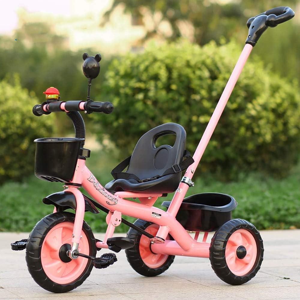 HJFGIRL Triciclos Bebes 1 Año Bici 3 en 1 Plegable Bicicletas Estaticas BH con Rueda Inflable de Espuma EVA Puede Soportar 35kg Adaptar a Parques, Caminos de Grava, Playas, Viajes