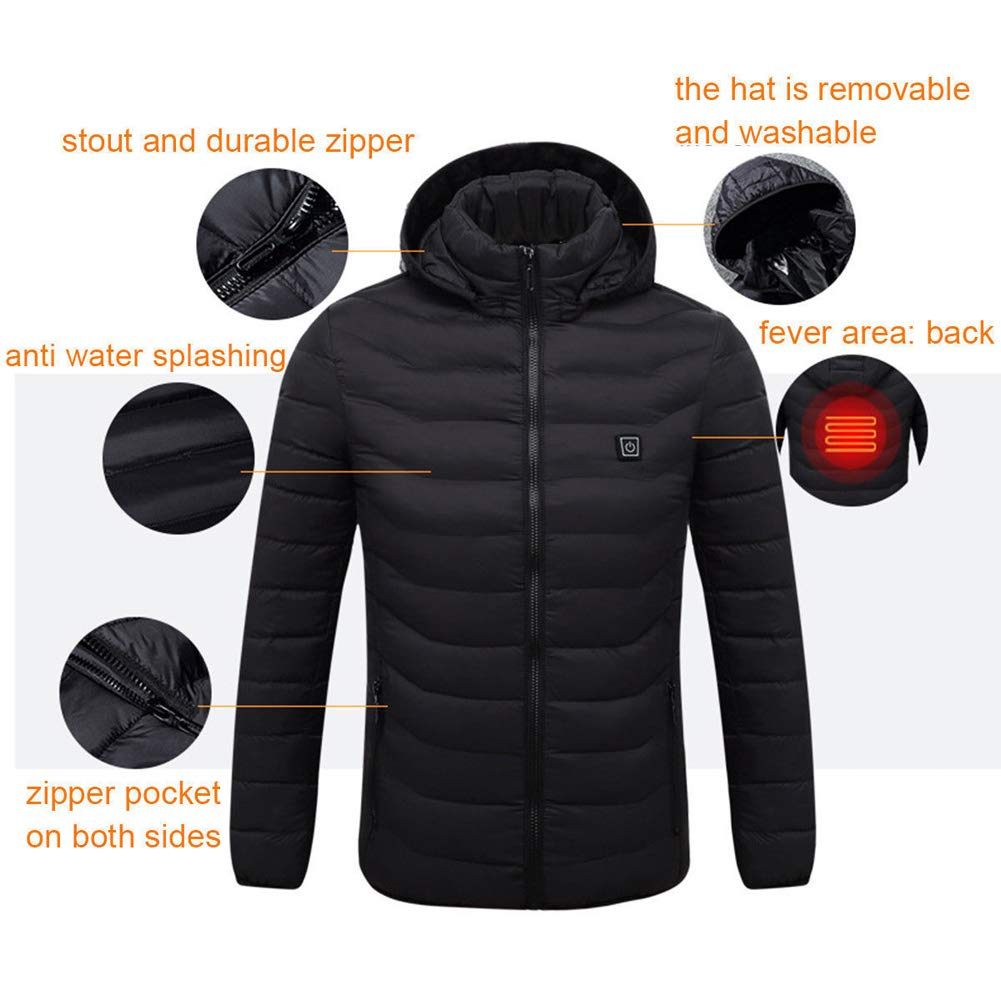 Dragon Honor Mens Winter Heated USB Hooded Work Jacket Coats Adjustable Temperature Control Safety Clothing