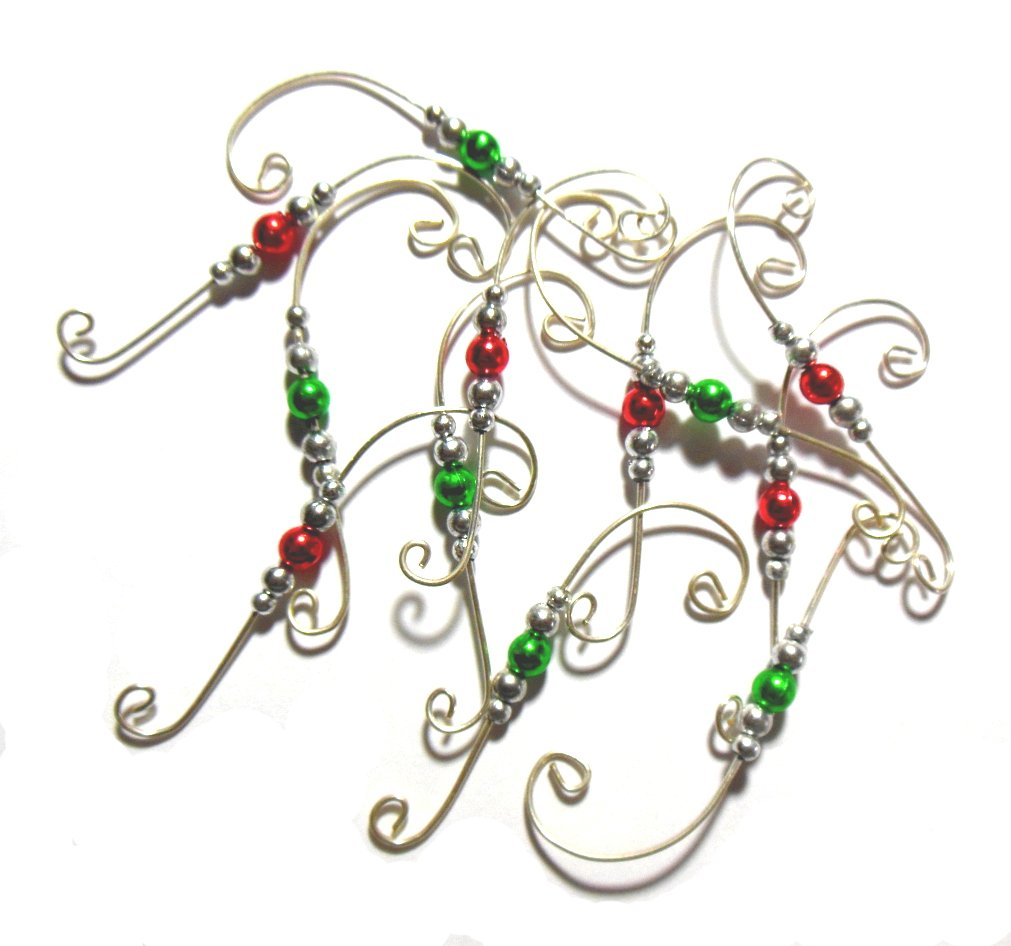Beaded Ornament Hangers Decorative Holiday Swirl Wire Set of 24 Hooks (Silver) by Charmed By Dragons