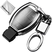 Full Protection Key Shell TPU Cover for Mercedes-Benz C E S M CLS GLK GL Class Keyless Entry Cover Soft Holder Case with Keychain (Silver)