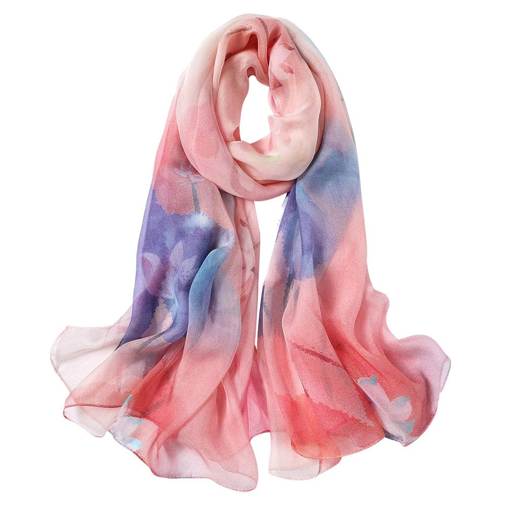 STORY OF SHANGHAI Womens 100% Pure Mulberry Scarf for Hair Silk Summer Head Scarf Silk Floral
