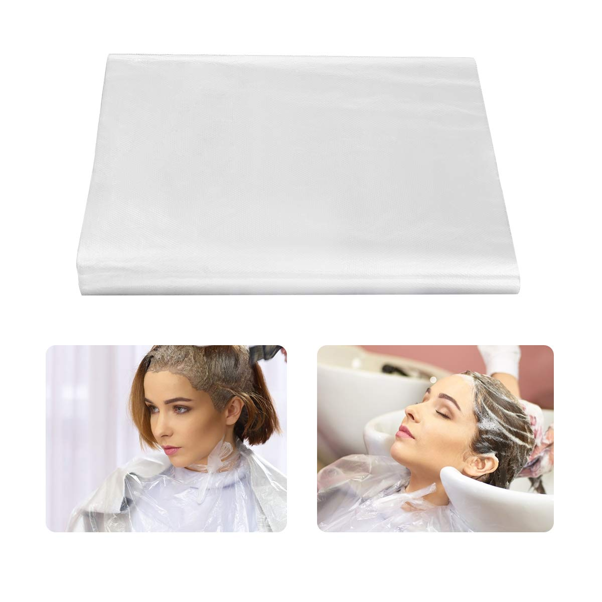 Madholly 50pcs Disposable Haircut Apron- 51 x 63 inch Hair Cutting Capes Waterproof Barber Hairdressing Cape Lightweight Hair Salon Capes for Shampoo Styling Hair Coloring for Home and Salon