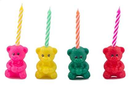 Amazon.com: Velas y oso para tartas de cumpleaños (12 ...