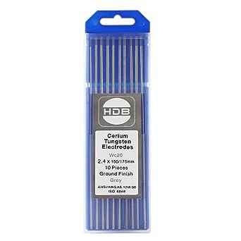 10 Piezas Aguja de Electrodos de Tungsteno WC-20 2.4Ø x 175 mm TIG Welding Gray: Amazon.es: Industria, empresas y ciencia