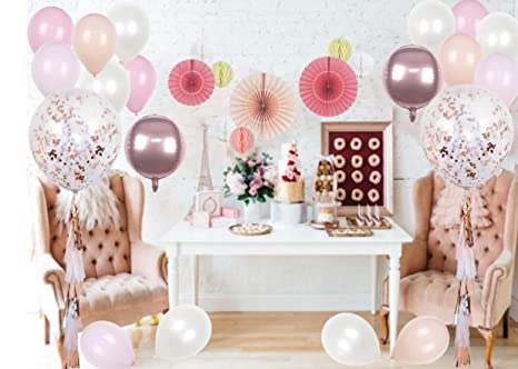 Amazon Com Pink Peach Cardstock Paper Fan And Rose Gold Jumbo