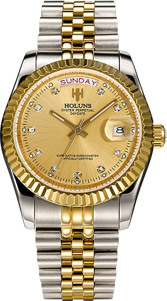 Gold Automatic Watches for Men Luxury Luminous Dress Watch with Day and Date