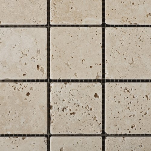 Ivory Travertine 2 X 2 Tumbled Mosaic Tile - Box of 5 sq. ft.