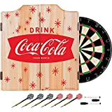 Coca Cola Stars Design Deluxe Solid Wood Cabinet Complete Dart Set - Choose Color! (RED)