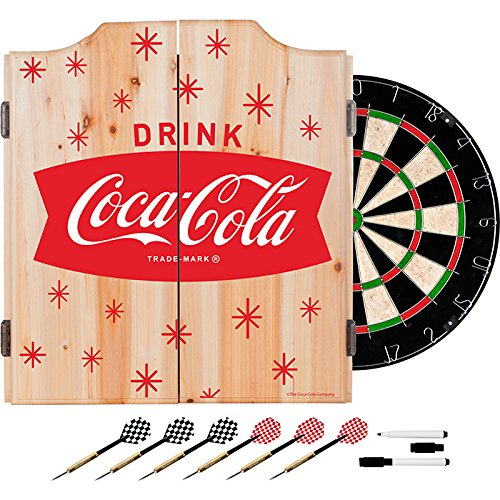 Coca Cola Stars Design Deluxe Solid Wood Cabinet Complete Dart Set - Choose Color! (RED) by TMG