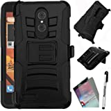ZTE ZMAX PRO Case, Phonelicious (Tm) ZTE ZMAX PRO Xtreme Heavy Duty Hybrid Dual Layer Kickstand Belt Holster Clip Combo Rugged Tuff+ Screen Protector & Stylus (BLACK XC)