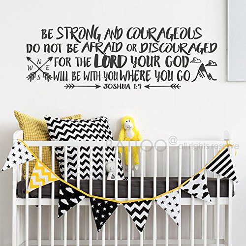 BATTOO Be Strong Wall Decal Quote - Joshua 1:9 - Be Strong and Courageous Quote - Arrow and Mountains Wall Decal - Bible Verse Nursery Wall Decal(Black, 60