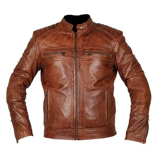 44d55f8aa37c Cafe Racer Jacket 2 Moto Vintage Biker Tan Brown Leather Jacket - Cafe  Racer Jacket Men