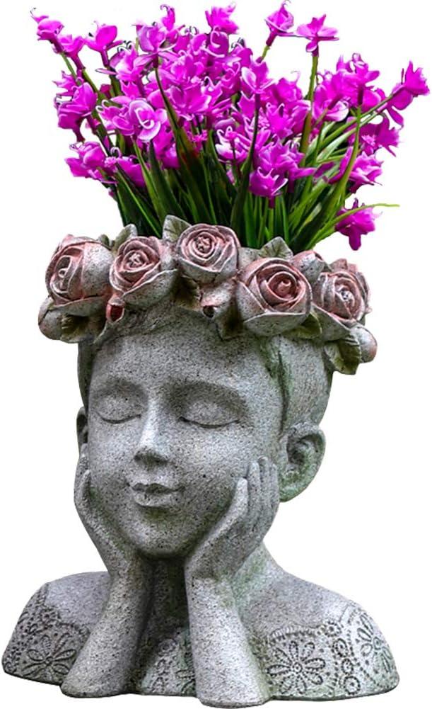 MOCOHANA Indoor Outdoor Head Planter Pot Resin Succulent Planter Vase Greek Statue Planter Urn Home Garden Decor Sculpture, Girl
