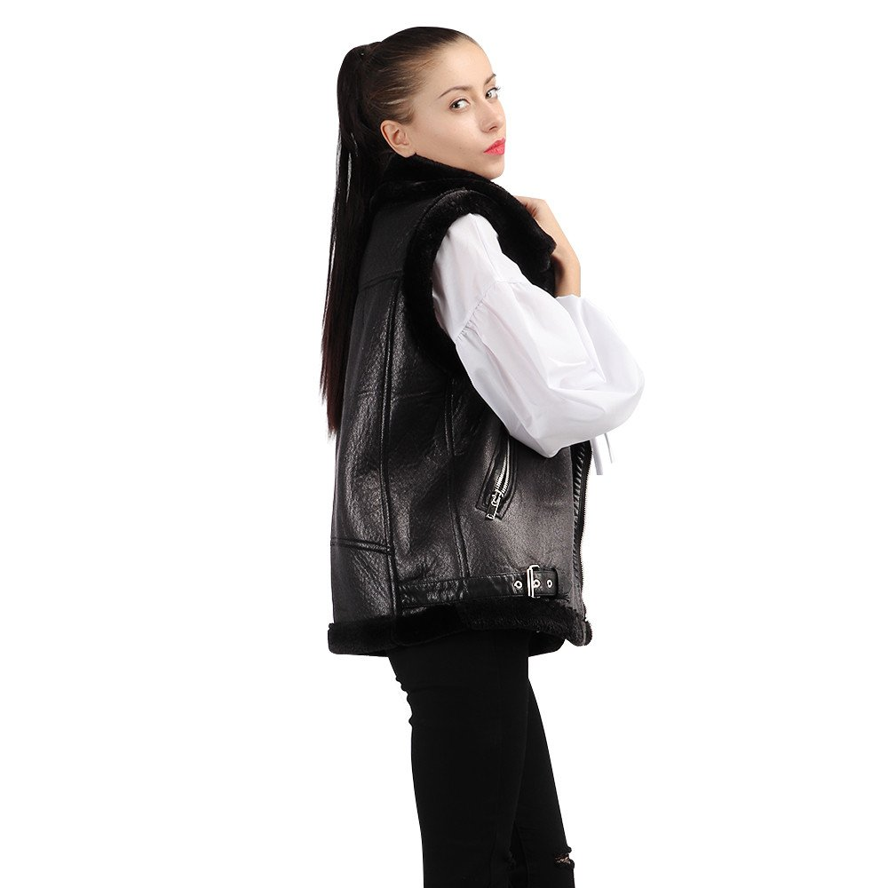 Kemilove Fur one Vest PU Leather Motorcycle Jacket Neutral Leather Female