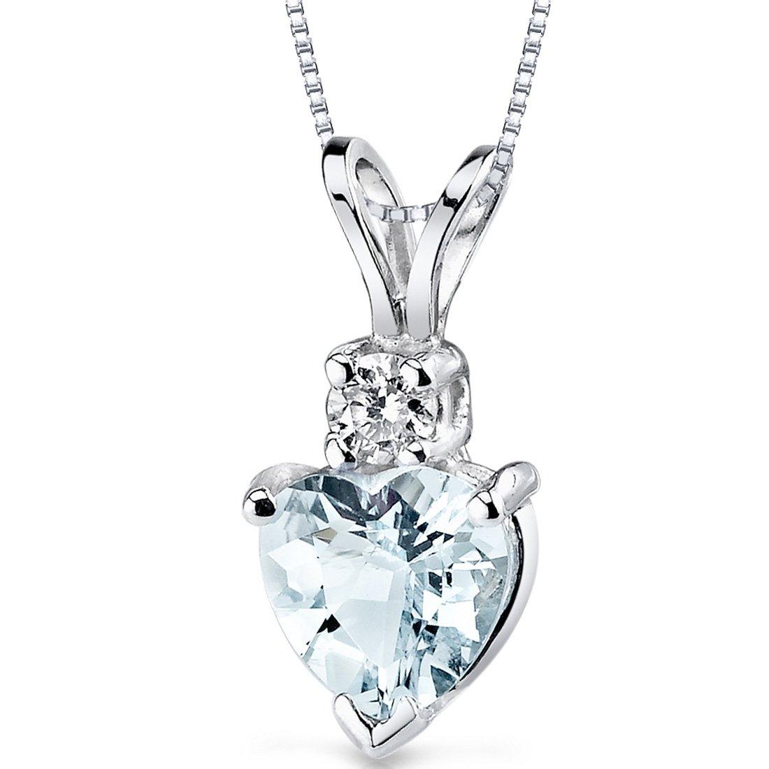 14 Karat White Gold Heart Shape 0.75 Carats Aquamarine Diamond Pendant by Peora