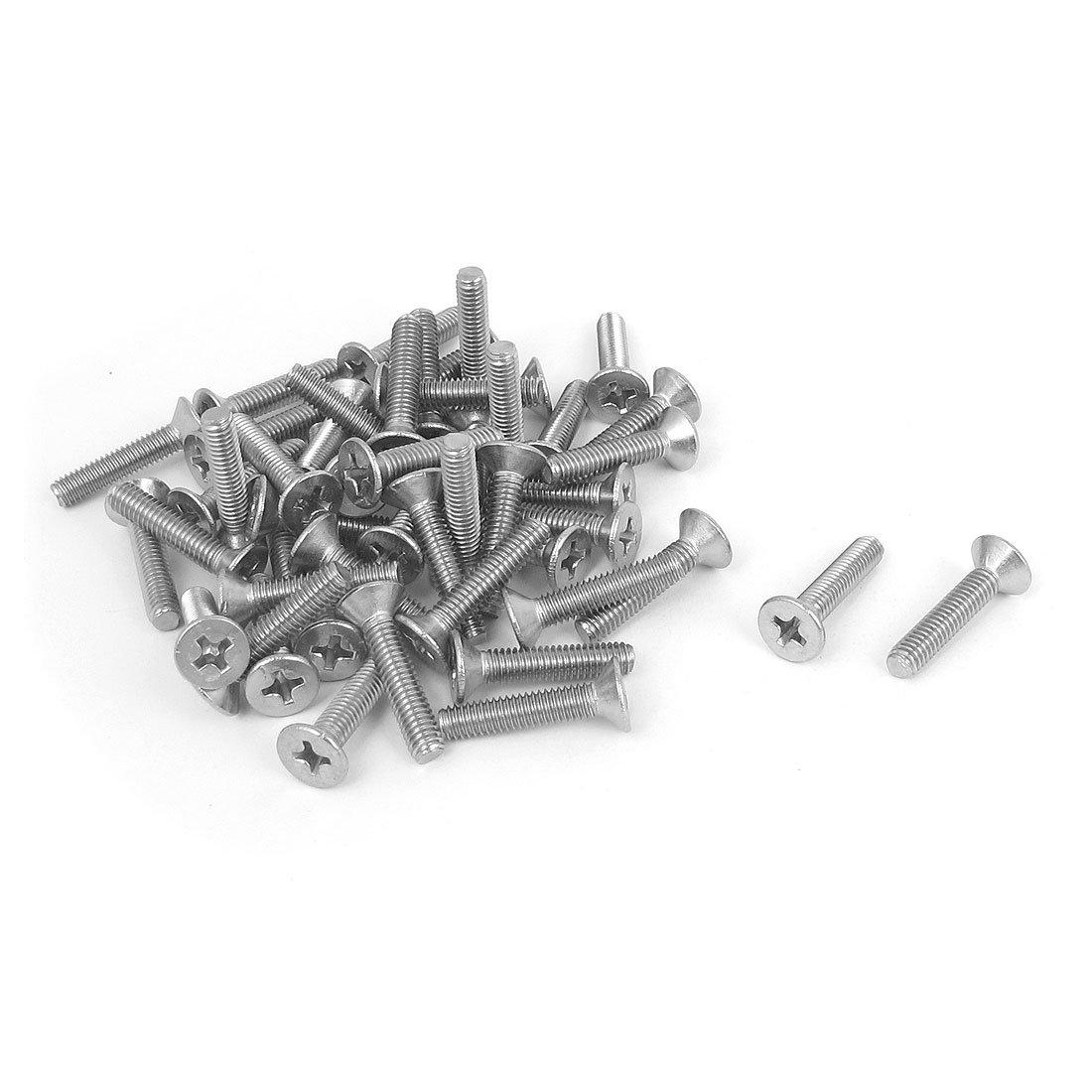 M4 x 20mm Phillips Flat Head Countersunk Bolts Machine Screws 50pcs uxcell a15101300ux0204