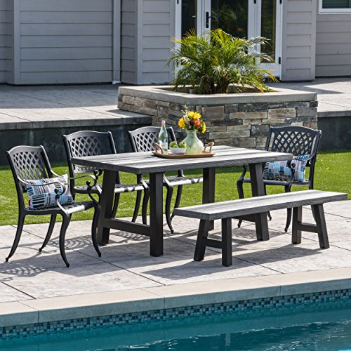 Aluminum Natural Dining Table - Great Deal Furniture 303801 Chris Outdoor 6 Piece Aluminum and Concrete Lightweight Dining Set | with Natural Grey Finish | in Black Sand,