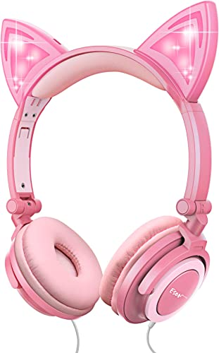 Esonstyle Kids Headphones Over Ear with LED Glowing Cat Ears,Safe Wired Kids Headsets 85dB Volume Limited, Food Grade Silicone, 3.5mm Aux Jack, Cat-Inspired Pink Headphones for Girls led-Pink