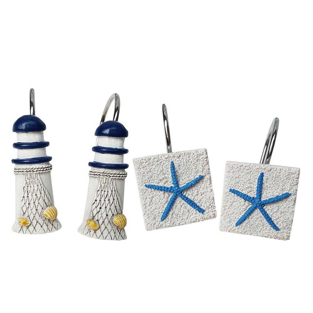 Chictie Beach White Shower Curtain Hooks Decorative Lighthouse Starfish Shower Rings Hangers Rust Proof