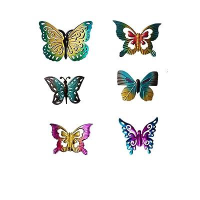 6Pcs/Set Metal Mini Butterfly Fence Hanger Butterfly Wall Art Yard Outdoor Lawn Garden Decor: Home & Kitchen