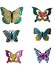 6Pcs/Set Metal Mini Butterfly Fence Hanger Glass Butterfly Wall Art Yard Outdoor Lawn Garden Decor