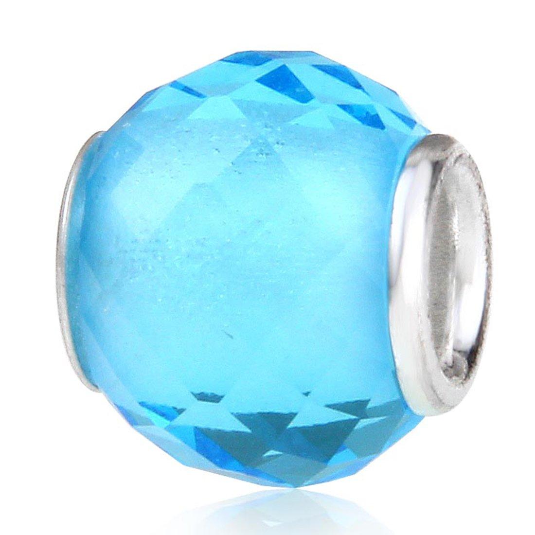 97b9c377bb2f3 Glsas Birthstone Charm with 925 Sterling Silver Core Birthday Charm  Anniversary Charm for Pandora Charms Bracelelt (March)