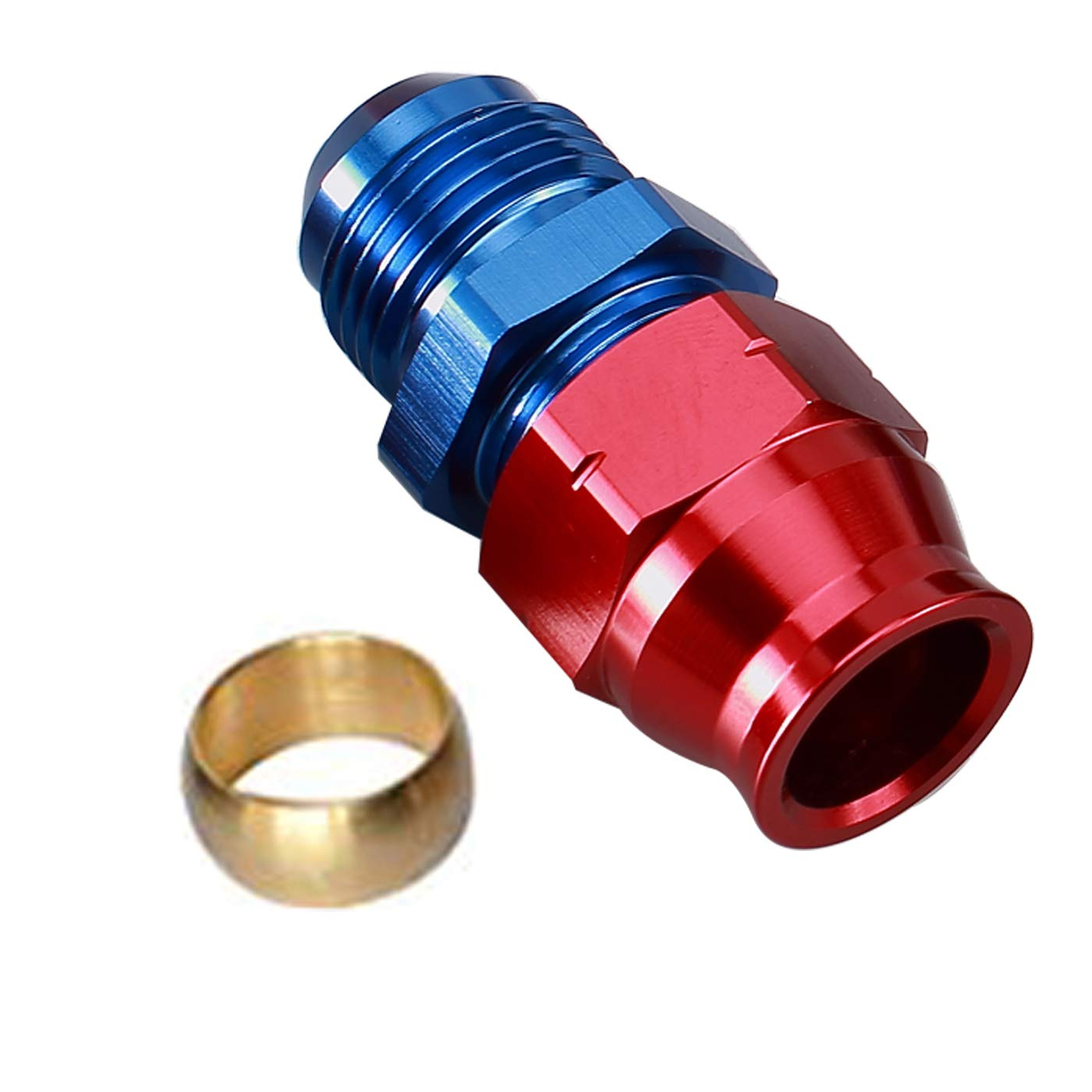 Aluminum Fuel Hardline Fitting Hard Fuel Tubing Fitting for hardline tube 5//16 inch 7.9mm OD to AN6 female thread Connector Red Blue Anodized