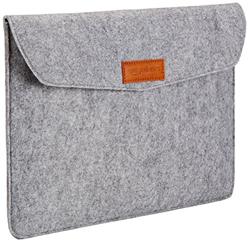 AmazonBasics 13 Inch Felt Macbook Laptop Sleeve Case - Light Grey