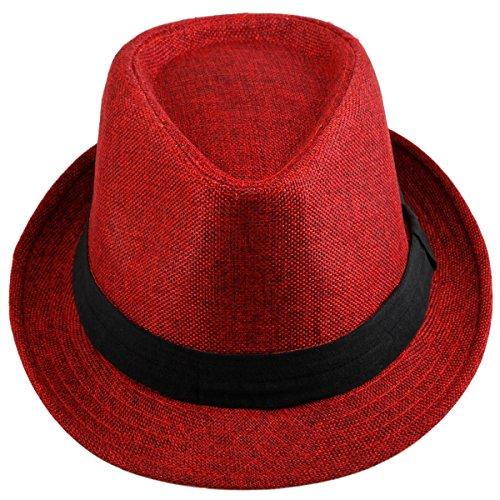 Samtree Fedora Hats for Women Men,Braid Straw Short Brim Jazz Panama Cap(01-Red)