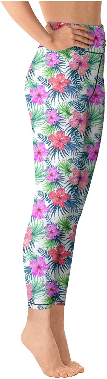 Womens Yoga Pants White Small Daisy Red Flower On Black Super Soft Yoga Leggings with Pockets