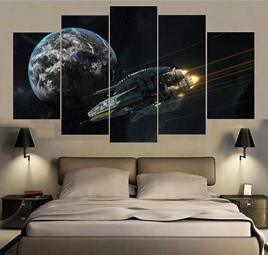 GLORIOUS.YY 5 Piezas Nave Espacial Planeta Cuadros En Lienzo ...