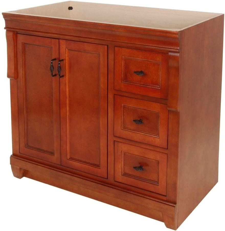 Foremost FMNACA3621D Naples 36 Inch Bath Vanity – Cabinet Only Vanity, Warm Cinnamon