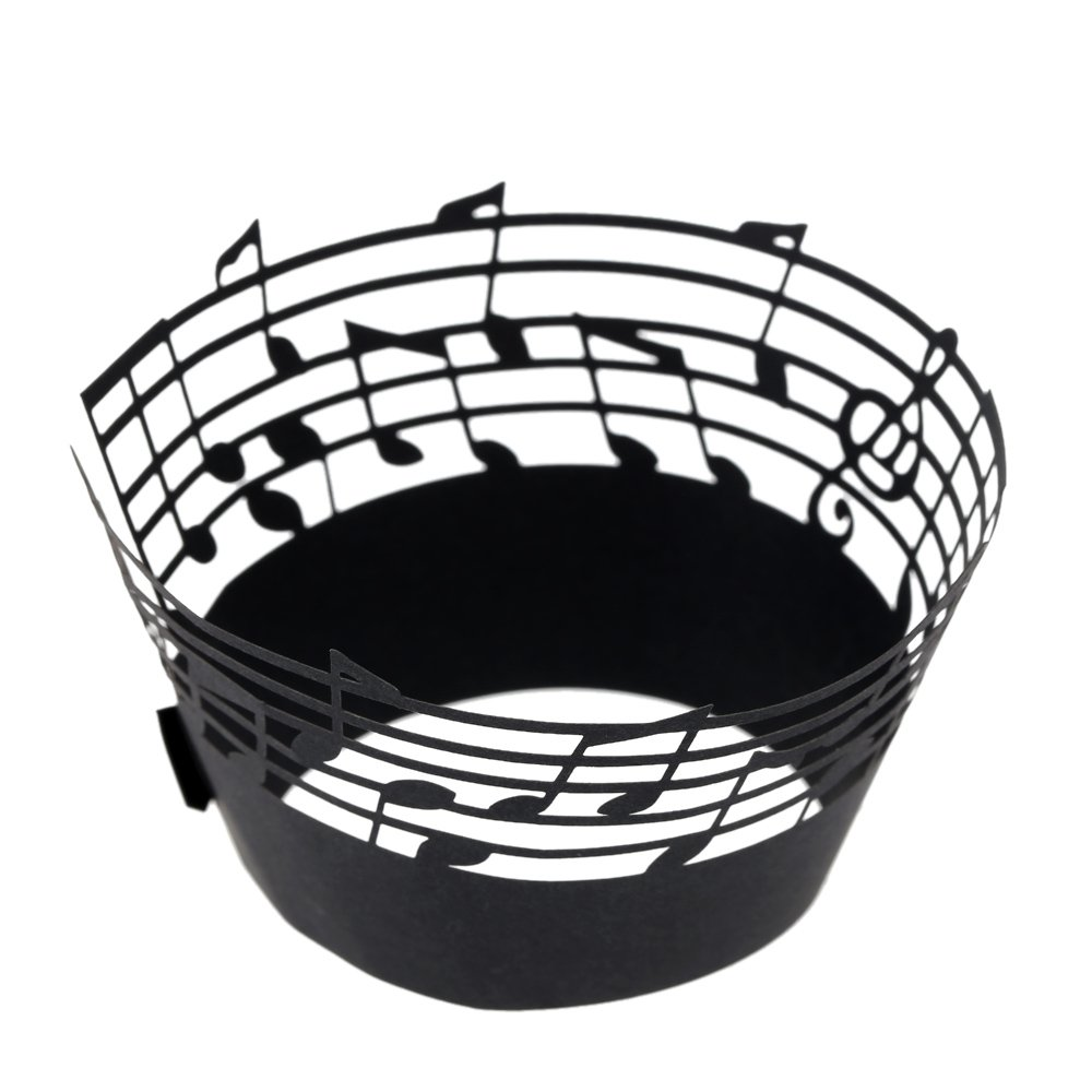 Anself 50Pcs Lace Muffin Case Cupcake Paper Cup Liner, Music Notes Staff Pattern