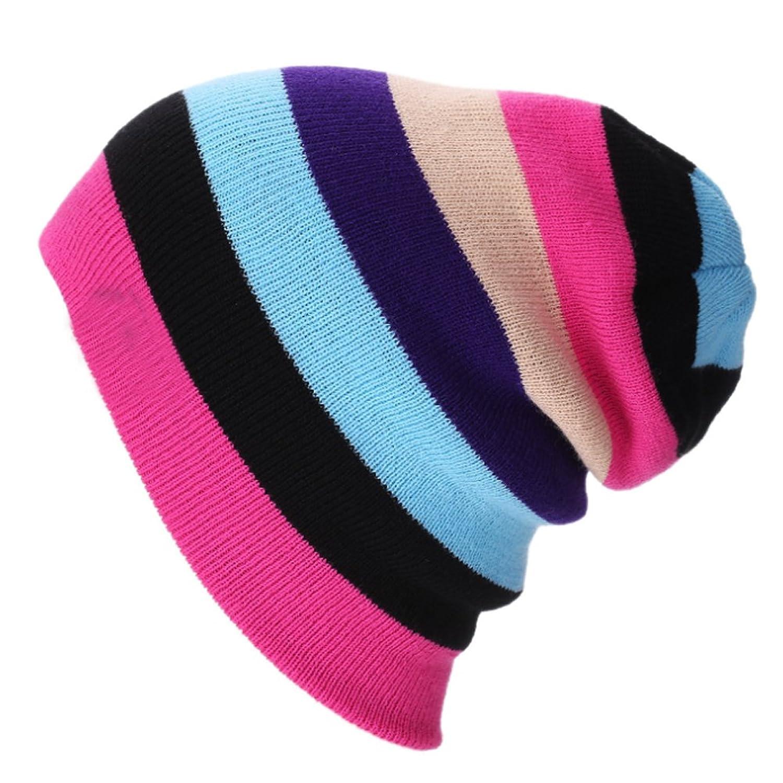 Surker Multi-color Stripe Splicing Warm Knit Hat Beanie Ski Hats