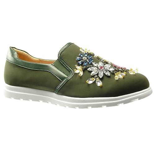 Angkorly - Zapatillas Moda Deportivos Mocasines Slip-on Suela de Zapatillas Mujer Flores Joyas fantasía tacón Plano 0 CM: Amazon.es: Zapatos y complementos