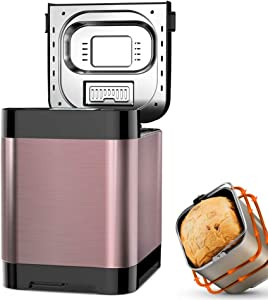 VBARV Automatic Bread Maker, 2LB programmable Bread Maker with LED Display, Visual menu (18 Programs, Suitable for Small appliances in Home Kitchen)