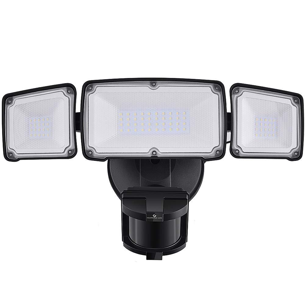 LED Security Lights, 35W Motion Sensor Light Outdoor, GLORIOUS-LITE 3 Head Flood Light with Dusk to Dawn Mode, 5500K-6000K, IP 65 Waterproof, ETL Certified for Garage, Yard, Porch, Entryways - Black