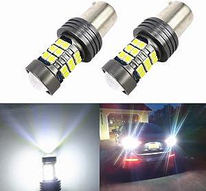 WLJH 2X BA15S 1156 LED Canbus Bulb P21W 7506 Canbus Error Free 3030SMD 12V 24V LED Light Bulbs for Car Auto Turn Signal Back Up Reverse Tail Light-2Yr Warranty